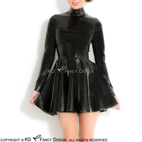 Black Sexy Latex Dress With Long Sleeves High Collar Back Full Zipper Rubber Dress Bodycon Playsuit LYQ 0090