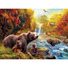 Full, diamond embroidery, black bear, 5D, diamond painting, rhinestone, mosaic, animal, cross stitch, decoration, DIY, craft YY(China)