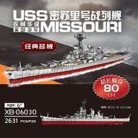 XINGBAO 06030 LegoEDS Army Military MOC Series The Missouri Battleship Model Building kit Blocks Assembly Toys For Children Gift