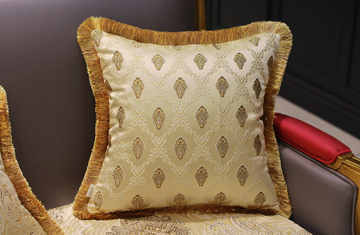 Luxury Tassel Decorative Jacquard Sofa Decorated Cushion Cover Two