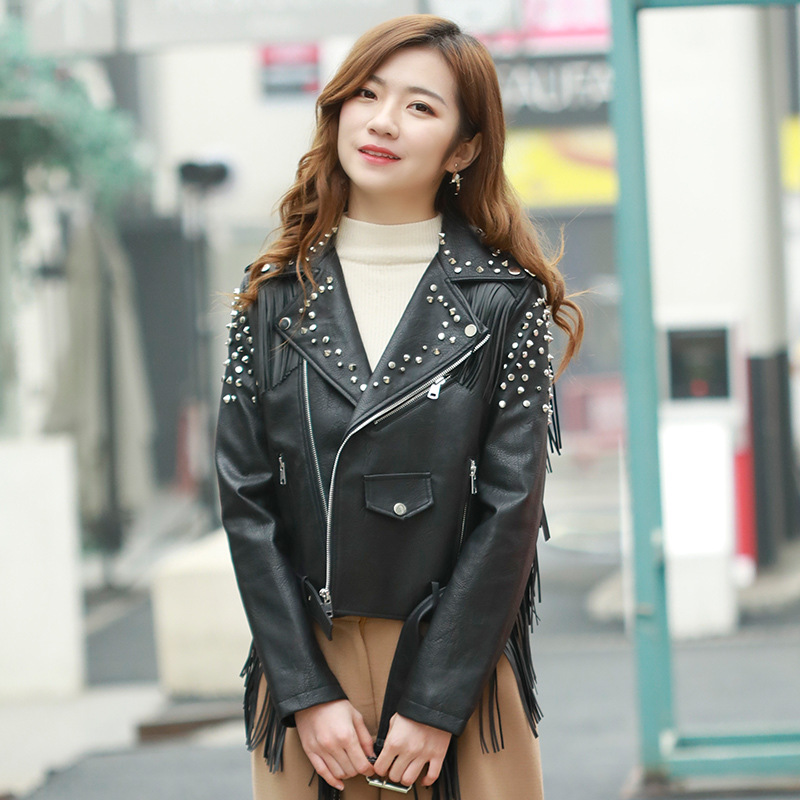 SWYIVY Womens Aviator Jacket   Leather   2019 Spring New Female Tassel Short Design Black Coat Woman   Leather   Jackets Zippers