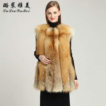 Natural Red Fox Fur Vests Coats Women Winter  Vests New Luxury Elegant Fur Vest 2020 Genuine Fur Jackets Sleeveless Real Fox Fur