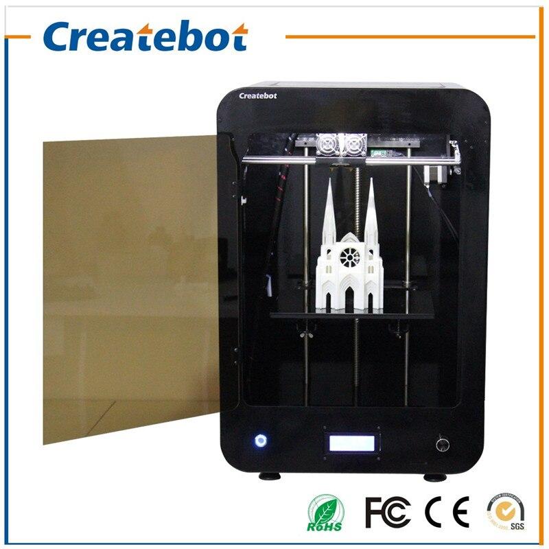 Double imprimante 3D d'écran d'affichage à cristaux liquides de Createbot MAX de bec avec le lit de chaleur et la plate-forme en verre 2 rouleaux Filament 4 GB carte d'écart-type comme cadeau