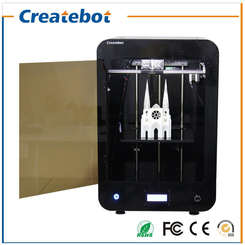 Dual Feeding Print Head Createbot MAX LCD Screen 3D Printer with Heatbed and Glass Platform 2 Rolls Filament 4GB SD Card As Gift