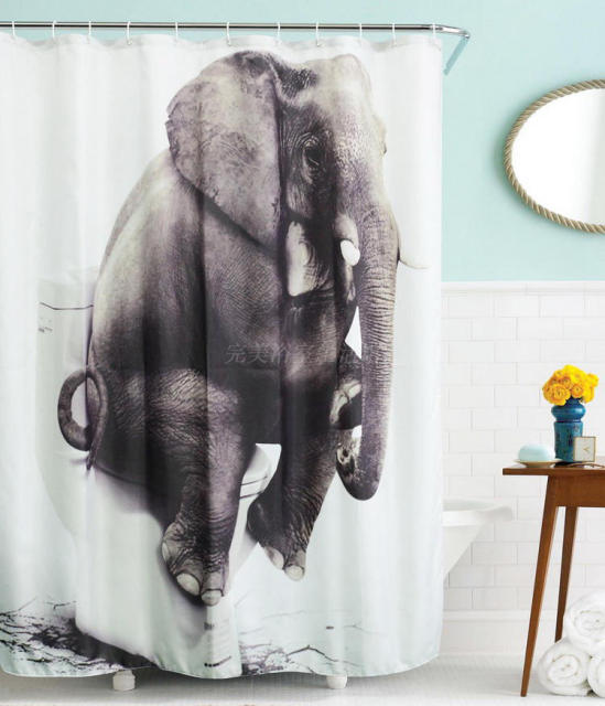 Bathroom Thinking Elephant Shower Curtains Polyester Fabric Liner Waterproof Washable Bath