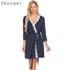 Image 3 - Ekouaer Women Robe Long Sleeve V Neck Lace trimmed Nighties Belt Sleepwear Robes Bathrobe Gowm Dressing Female Homewear