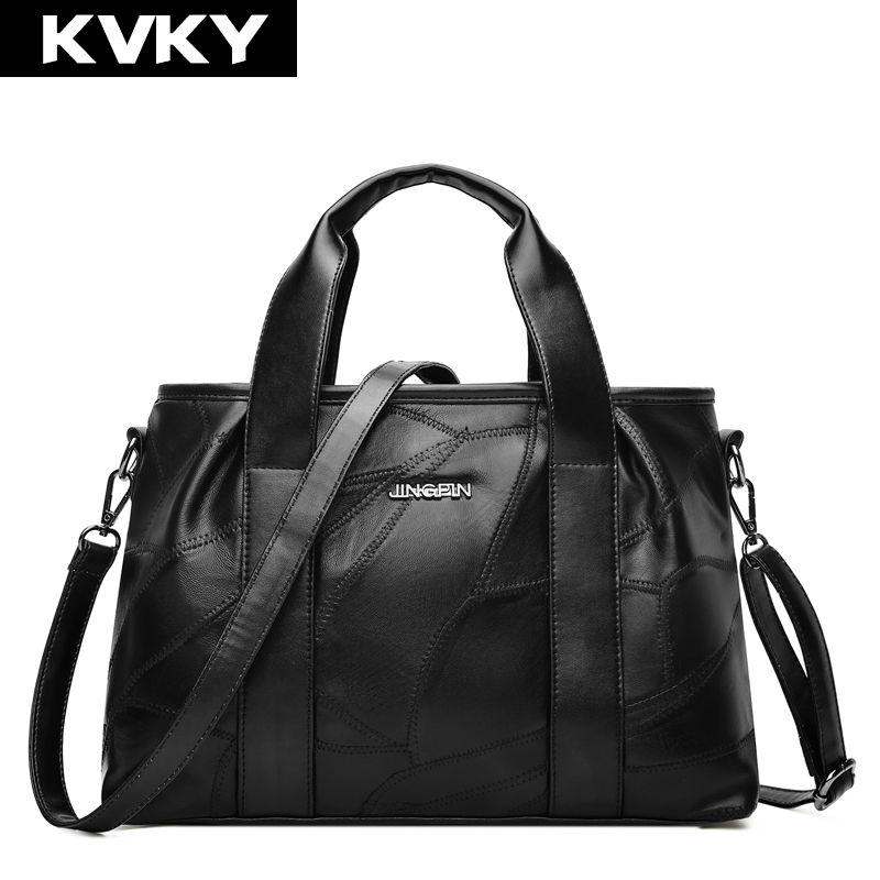 KVKY Genuine Leather Women Handbags Patchwork Sheepskin Female Crossbody Bag High Quality Women Shoulder Bag Tote bolsa feminina