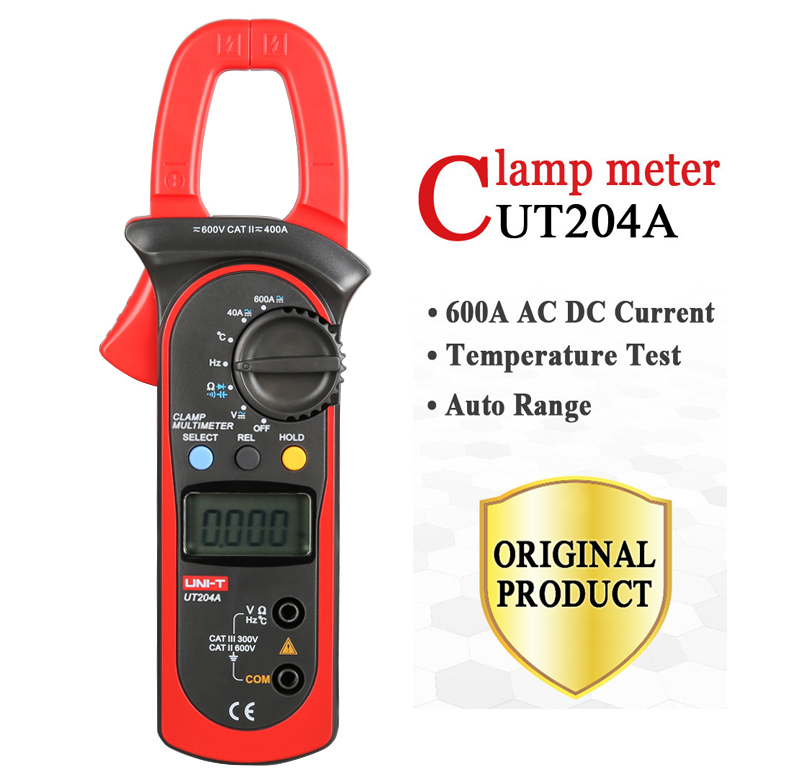 UNI-T UT203 UT204 UT204A digital clamp multimeters auto range temperature AC DC current clamp meter ammeter voltmeter