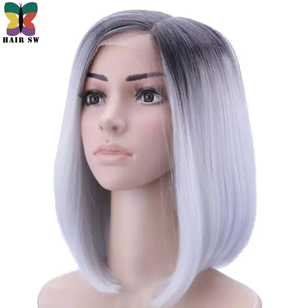 Cheveux SW court droit Bob kanekalon cheveux synthétiques dentelle profonde avant perruque Ombre gris foncé racine résistant à la chaleur pour les femmes