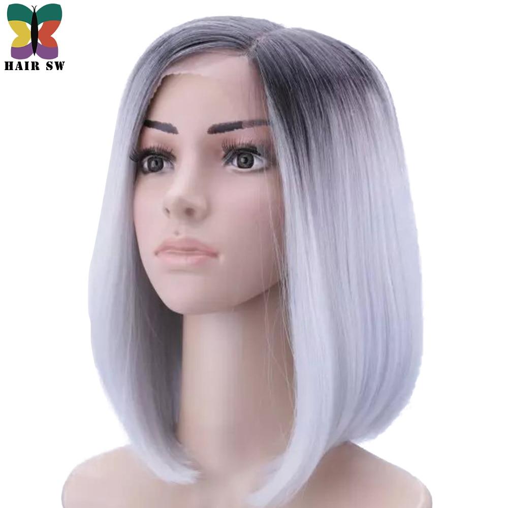 HAIR SW Short Straight Bob kanekalon Synthetic hair Deep Lace Front Wig Ombre Grey dark root