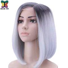 HAIR SW Short Straight Bob kanekalon Synthetic hair Deep Lace Front Wig Ombre Grey dark root heat resistant for women