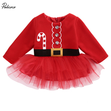 Christmas Santa Claus Long Sleeve Button Tulle Dress 2017 New Kids Baby Girls Clothes Back Zipper Dresses Outfit Costume