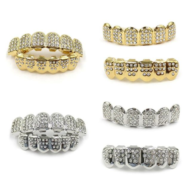 New Fshion Hip Hop Gold Silver Iced Out CZ Teeth Grillz Top Bottom Bling  Men Women Jewelry