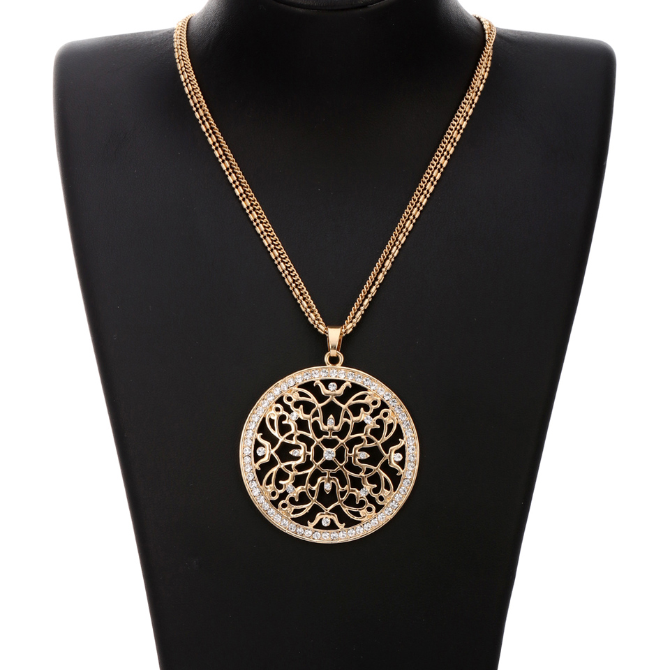 Crystal Flower Multi Chain Maxi Necklace