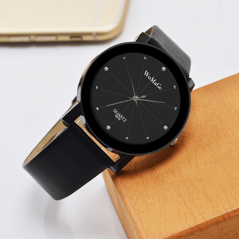 WoMaGe Brand Fashion Luxury Leather Women Watch Black New Quality Ladies Dress Clock Women's Watches Female Bracelet Reloj Mujer