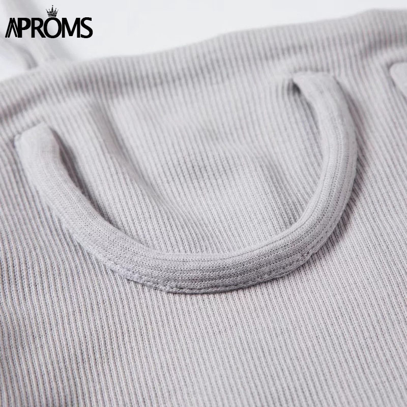 Image 5 - Aproms Candy Color Knitted Ribbed Cropped Tank Top Streetwear Basic Camis Fashion Women Crop Top Short Elastic Bra T shirts Tees-in Tank Tops from Women's Clothing