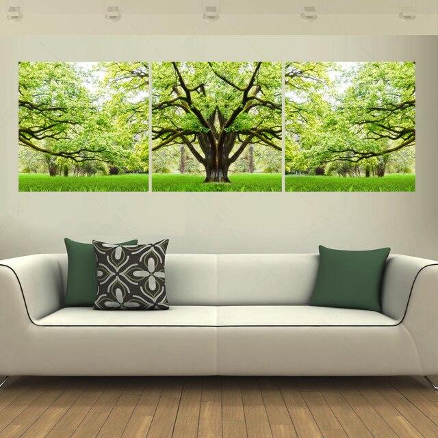 3 Paneles Lienzo Pintura Artística Cuadros Decoración árbol Verde