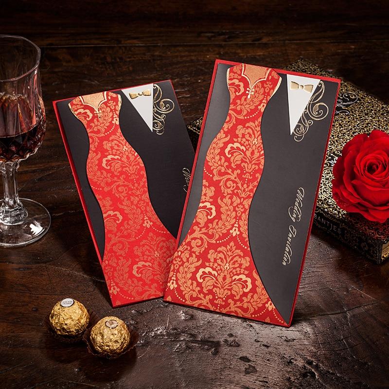 Bride and Black groom Wedding Invitations,red invitation card ...