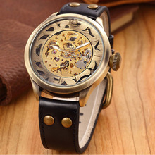 New Skeleton Watches SHENHUA Steampunk Automatic Skeleton Mechanical Wrist Watch Vintage Bronze Watch For Men Relogio Masculino