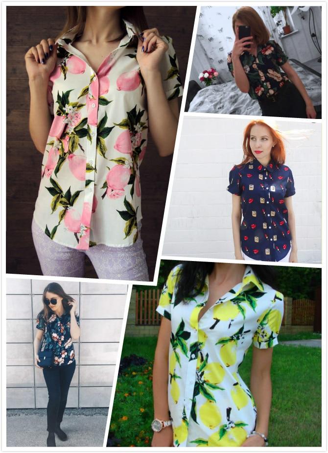 Dioufond Yaz Kısa Kollu Plaj Gömlek Kadın Çiçek Bluzlar Baskı - Bayan Giyimi - Fotoğraf 6