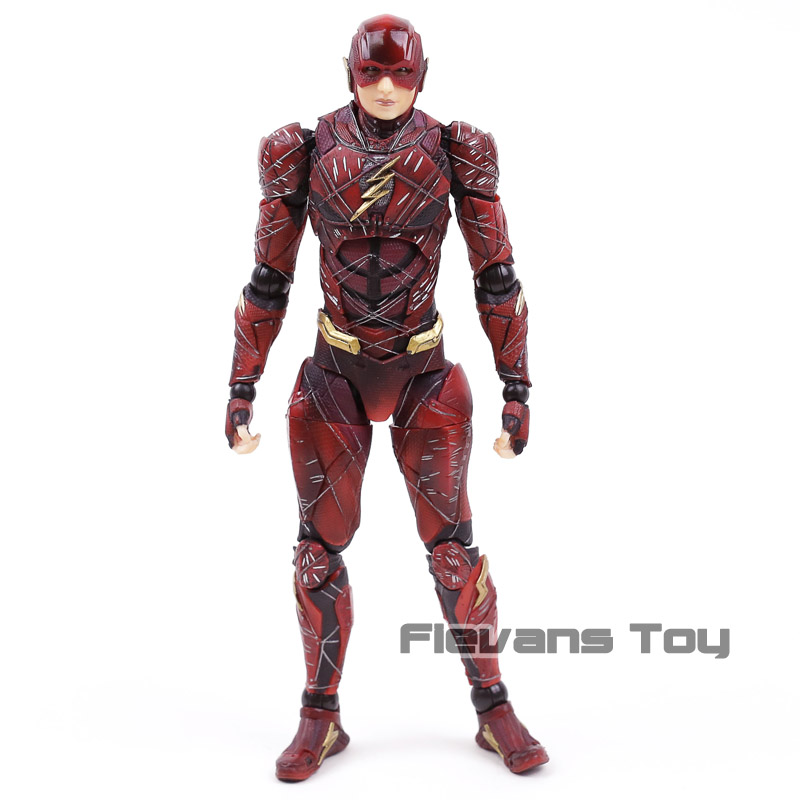 DC Justice League Play Arts Kai NO.2 The Flash PVC Action Figure Brinquedos Figurals Collection Model Toy Doll Gift elsadou 26cm play arts pa justice league the flash action figure toy doll collection