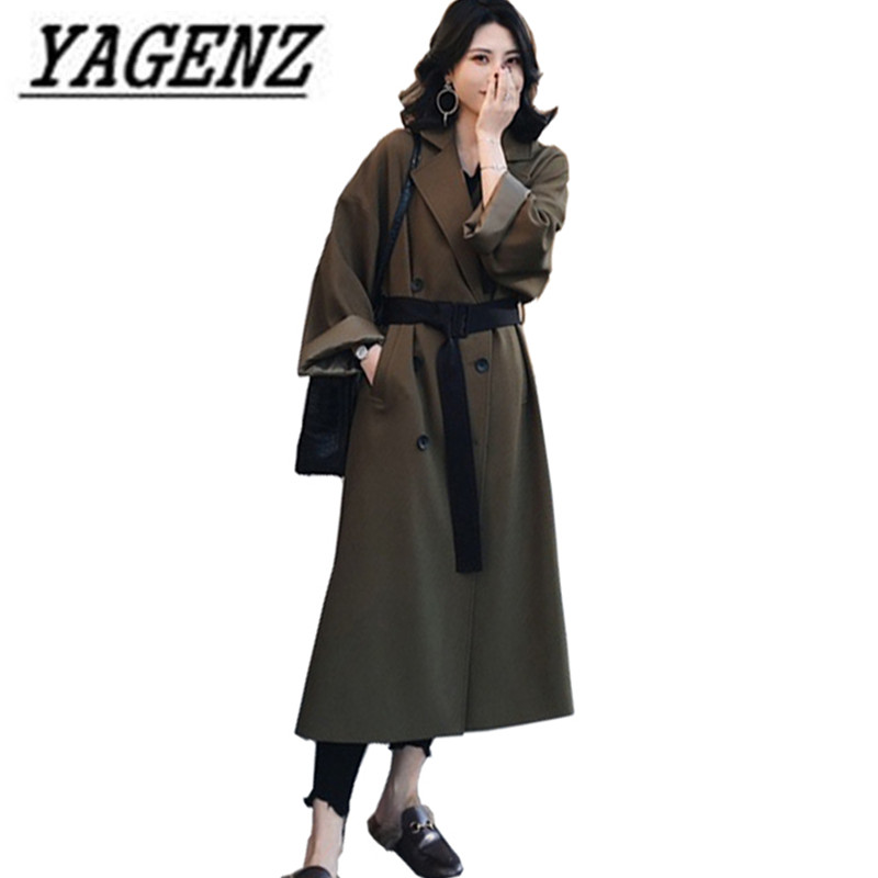 Women's Windbreaker spring 2018 New Loose Elegant Temperament Long Outerwear Double-breasted Casual Solid Female   Trench   Coats