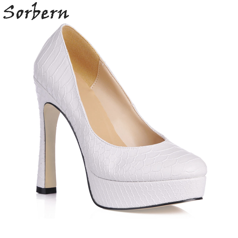 Sorbern Pointed Toe Ol Shoes Women 13Cm High Heels 3Cm Platform Slip On Dress Shoes Spring Style Custom Colors Szpilki Buty sorbern nude flat heel pointed toe women shoes rivets slip on spring shoes for women 2017 women flat shoes custom soulier femme