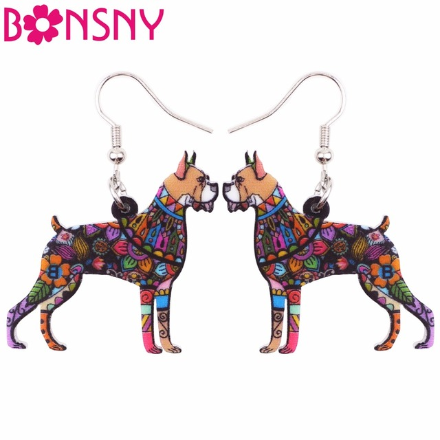 Bonsny Big Acrylic Stud Drop Dangle Boxer Dog Long Earrings 2017 New Fashion Animal Jewelry For Women Girls Bijoux Accessories