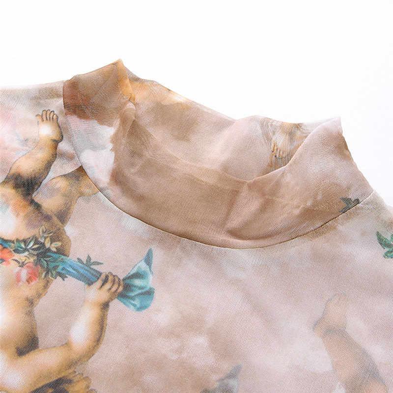 Mujeres de manga larga ver a través de malla transparente Ángel impreso Top camiseta Top señoras estampado Sexy moda Crop Top camisetas mujer