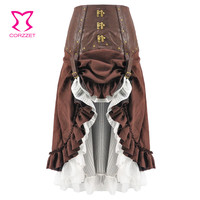Steampunk Skirt Women Sexy Brown Leather Long Asymmetrical Ruffle Medieval Victorian Gothic Punk Skirts Lolita Ladies Skirts