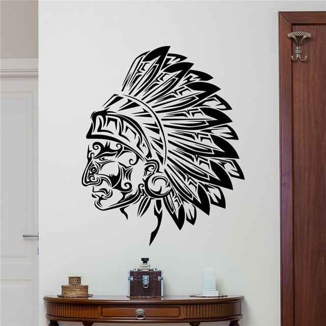 Native American Wall Vinyl Decal Tribal Indian Chief Vinyl Sticker ...