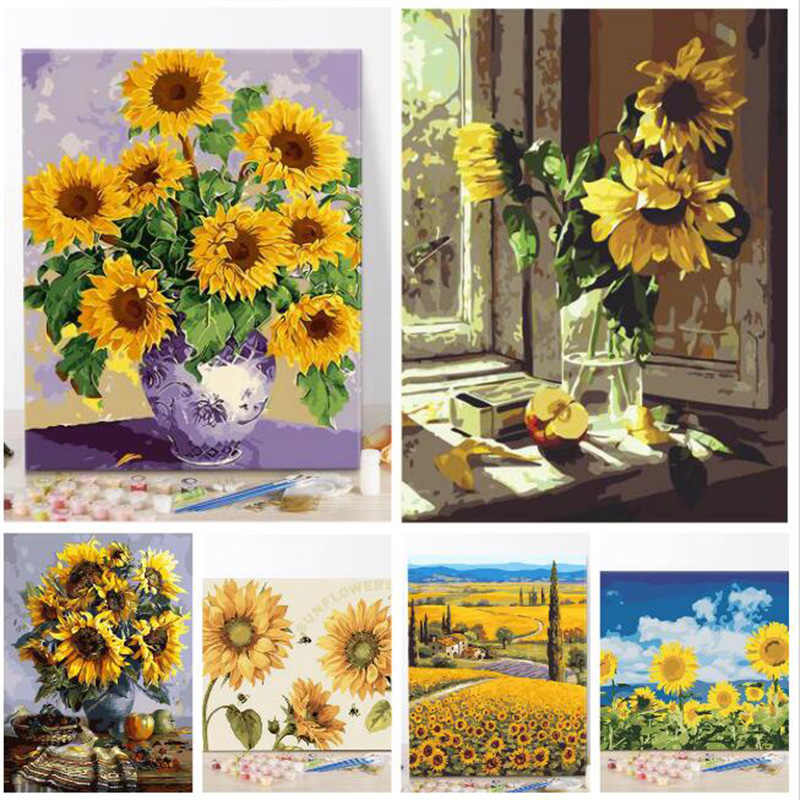 DIY oil painting paint by number canvas picture home wall decor sunflowers drawing coloring paint craft painting by numbers