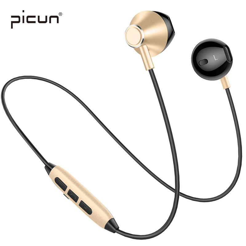 Picun H2 Bluetooth Wireless Headphone Sweatproof Sport Running Earbuds Earphone Stereo Magnetic Headset With Mic
