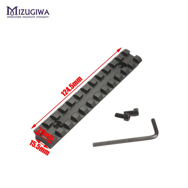 Mizugiwa 20mm Picatinny Rail Weaver Mount Base 12 Slots 124.5mm Long For Hunting Airgun Rifle Scope Caza