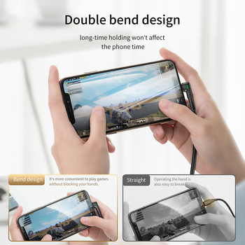 Baseus USB Cable for iPhone XR Xs Max 8 7 Plus 2.4A Fast Charging LED Light Elbow Charger USB Data Cable for Mobile Phone Wire 1