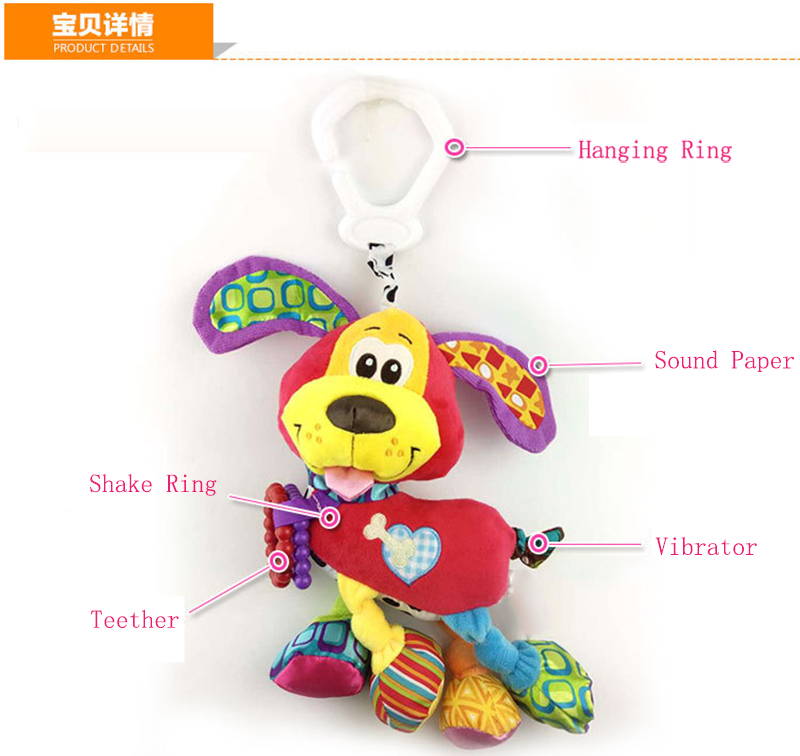 35*22CM Musical Cute Rattles Bed Crib Stroller Kids Stuffed Doll Vibrator Dog Hand Bell Shake RingToy With Teether D012 3