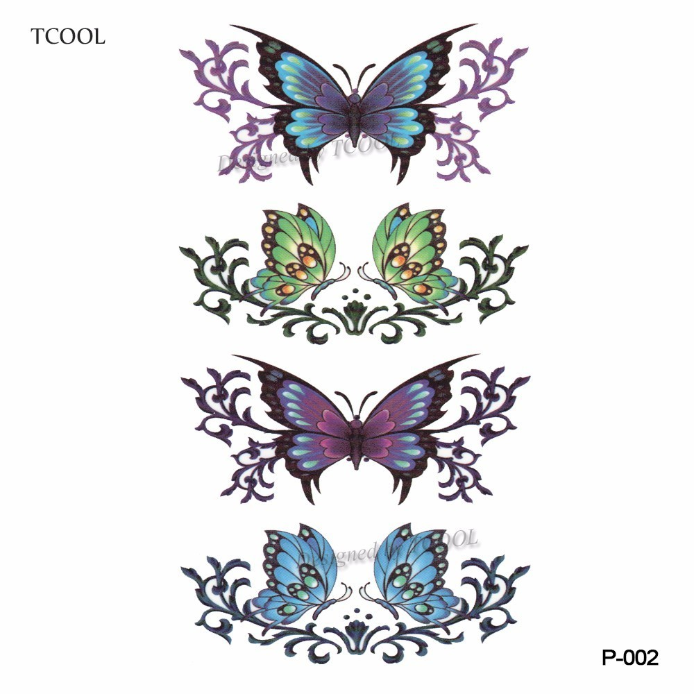 HXMAN Butterfly Flower Temporary Tattoo Sticker Waterproof Fashion Women Arm Fake Body Art 10.5X6cm Kids Adult Hand Tatoo P-002