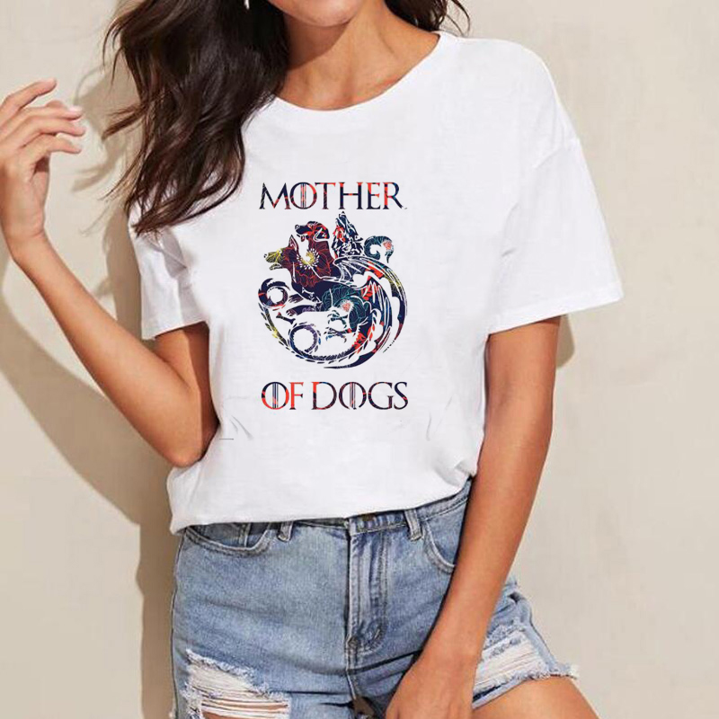 Game of Thrones Women T Shirts Mother of Dogs T Shirt Floral Print GOT Fans Tshirt Slim Lady T-Shirt Tops Funny Casual Tee