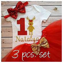 customize Christmas coming home reindeer baby shower 1st birthday bodysuit onepiece Tutu Dress romper Outfit Sets party favors(China)