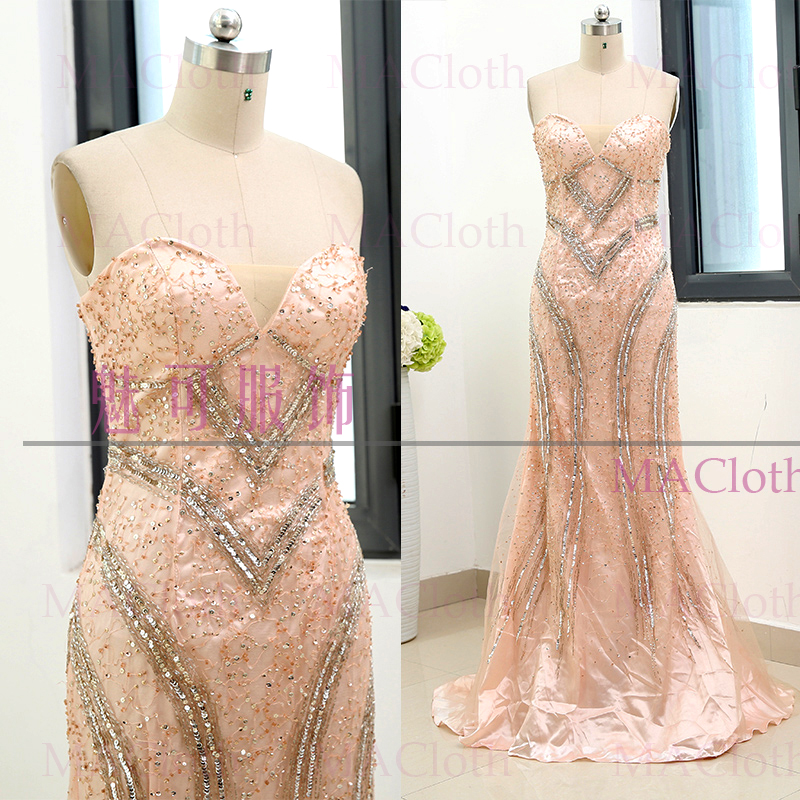 Champagne Sheath Strapless Floor-Length Crystal Tulle Prom Party Formal Evening Dress M 261774