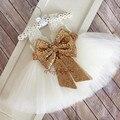 2016 Lindo blanco/marfil longitud de la rodilla de encaje hermosa flor vestidos de niña de niños de primera comunión vestidos de niño de noche de baile ball vestidos