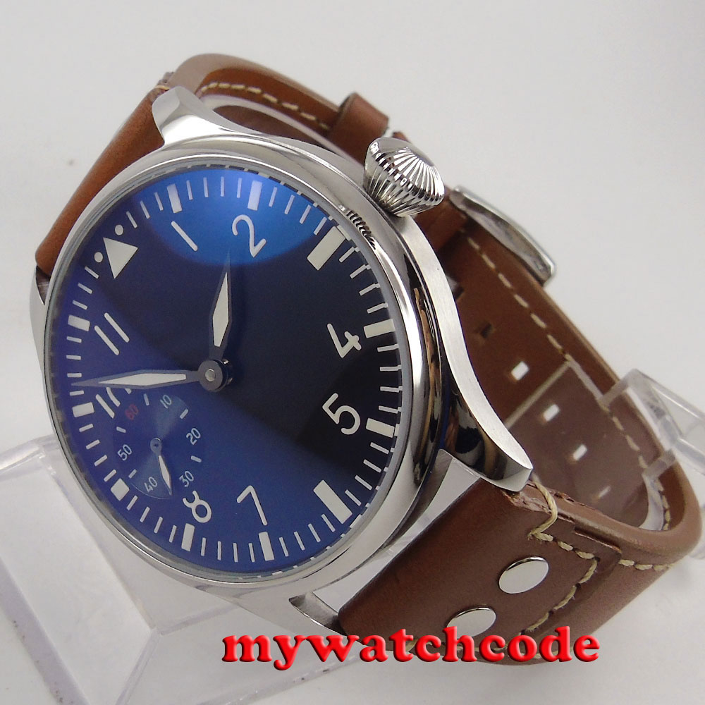 44mm parnis black dial brown rivet strap 6497 movement hand winding mens watch 1 цены онлайн