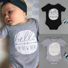 2016 Summer Infant Kids Baby Boy Girl Clothes Toddler Short Sleeve Romper Letter Print Jumpsuit Playsuit Outfit 0-2Y