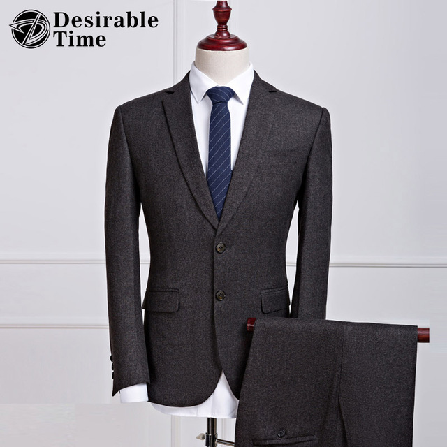 Desirable Time Mens Dark Grey Business Suits S-3XL 2017 Classic Two Button Slim Fit Suit For Office Men DT394