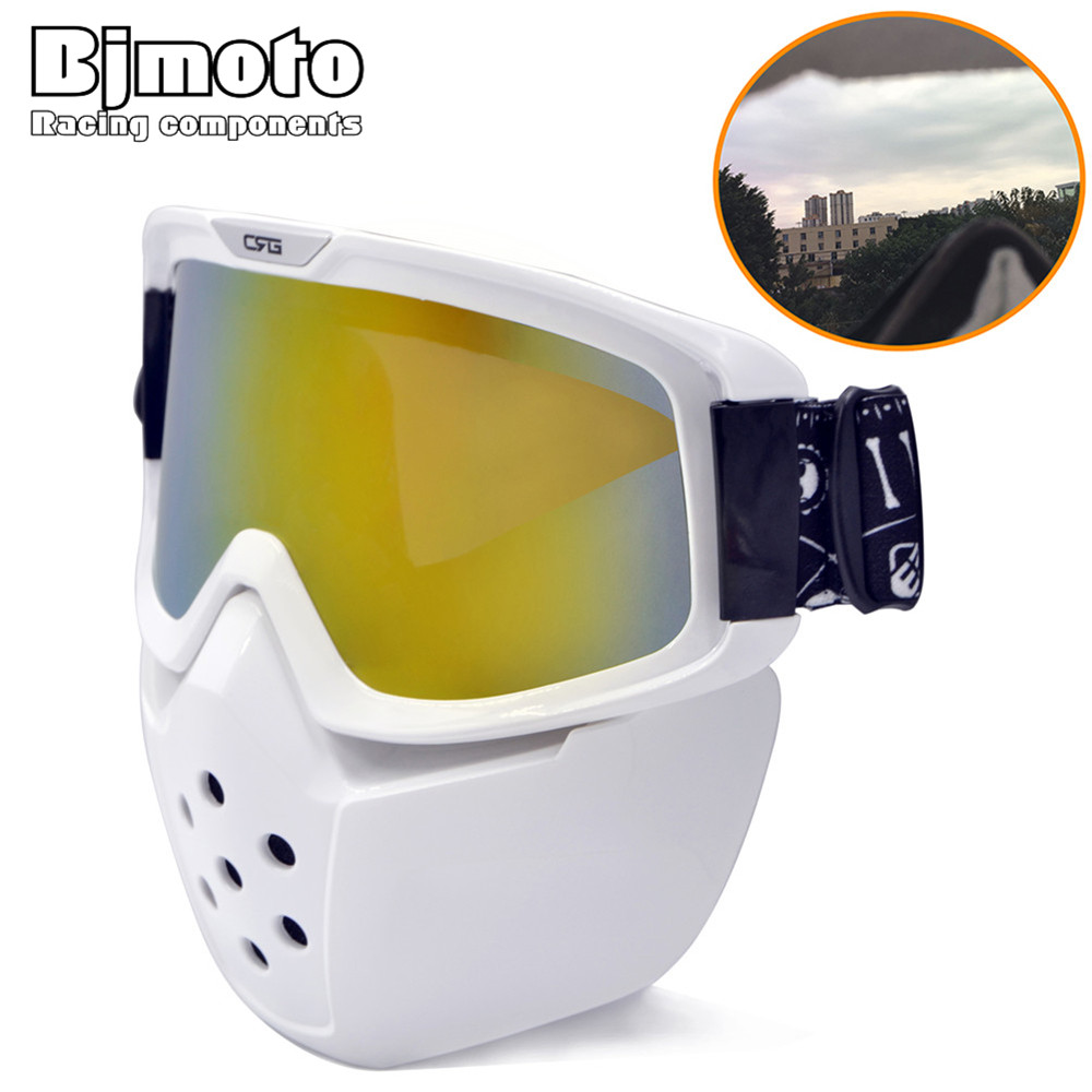 Bjmoto Racing Detachable Flexible Goggles Moto Motorcycle ATV Dirt Bike Off Road Street MX Nose Face Protective glass goggles fox racing youth main goggles roll off kit