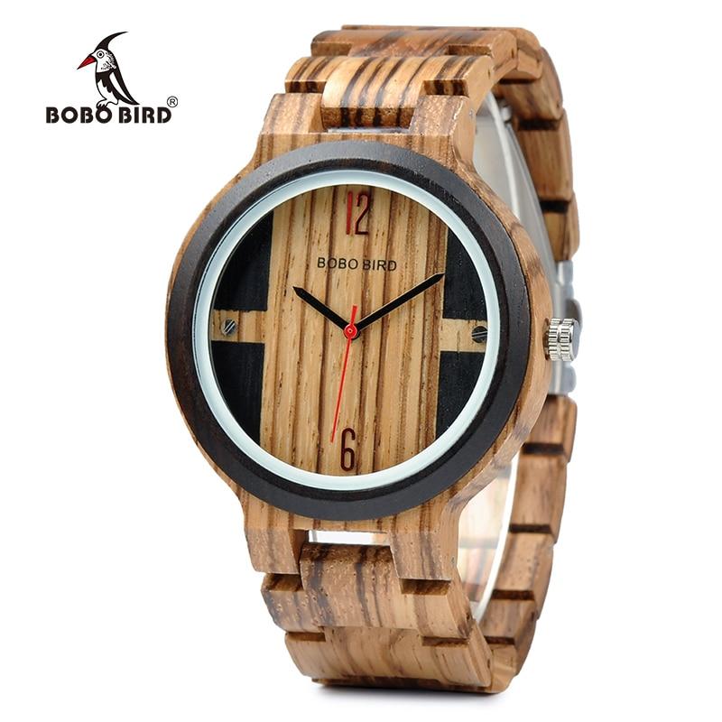 BOBO BIRD Quartz Watch Men Zebra Wood Case Accessory Dial Wooden Strap Customized Gift OEM J-Q19 oem 2015 watchgift 1 j 60cmpj078 bracelet watch
