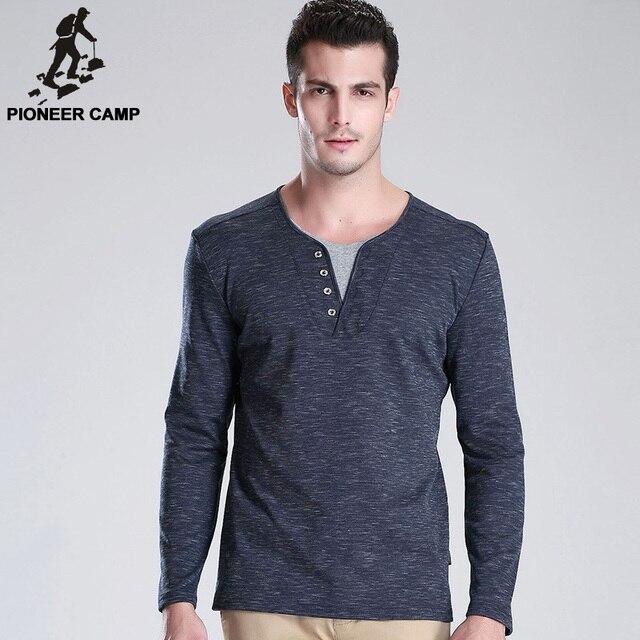 Pioneer Camp 2017 весной новые люди футболка с длинным рукавом v-образным вырезом повседневная мужская футболка дышащий тонкий мужская футболка мягкая