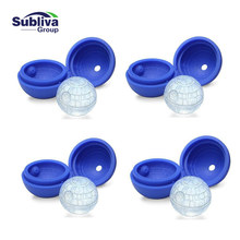 4ps Hot Creative Silicone Blue Wars Death Star Round Ball Ice Cube Mold Tray Desert Sphere Mould DIY