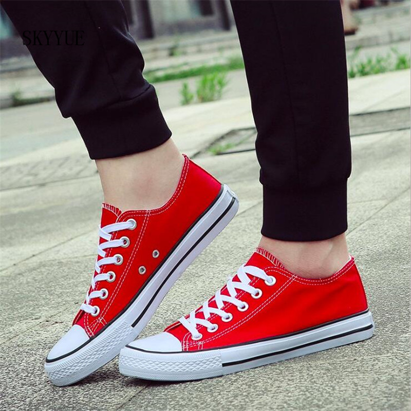 Classic Women Canvas Shoes Female Casual Sneakers for Woman Round Toe Lace Up Solid Red White Black Blue Plus Large Size lson female to female breadboard jumper dupont cable white black red blue yellow 28 pcs