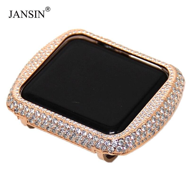 Pour apple montre Case série 5/4/3/2 métal Aluminium cadre diamant montre Case pour apple watch 40mm/44mm/38mm/42mm couverture